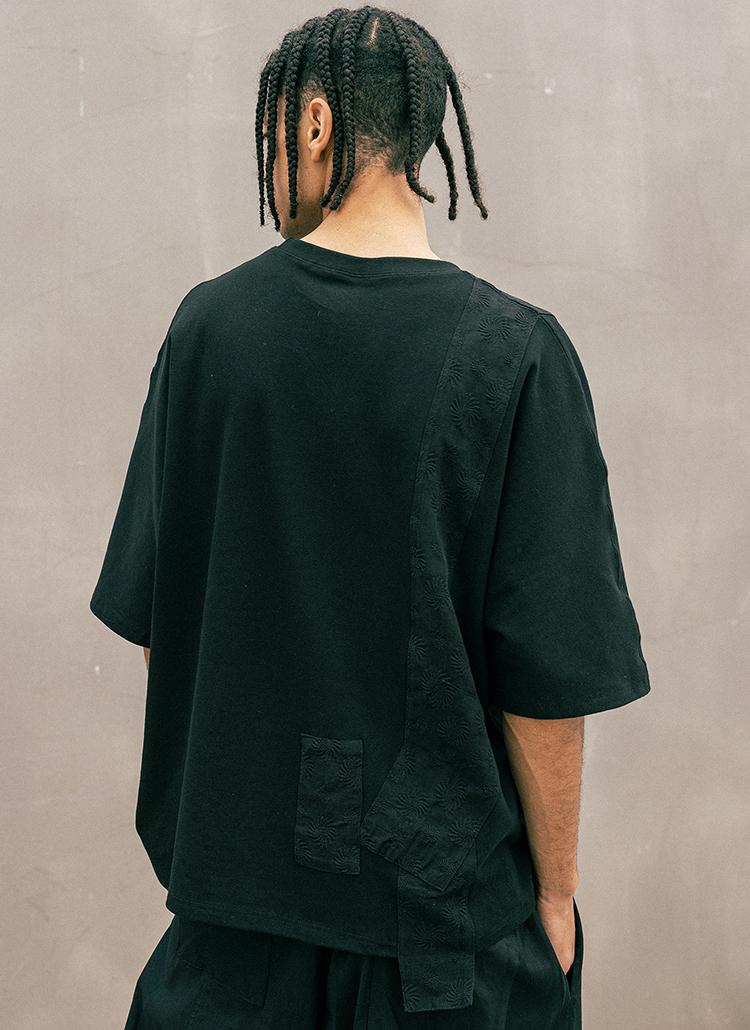 パターンコントラスト半袖Tシャツ(BLACK)