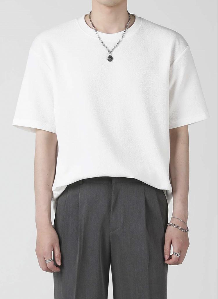 エンボス半袖Tシャツ(ivory)