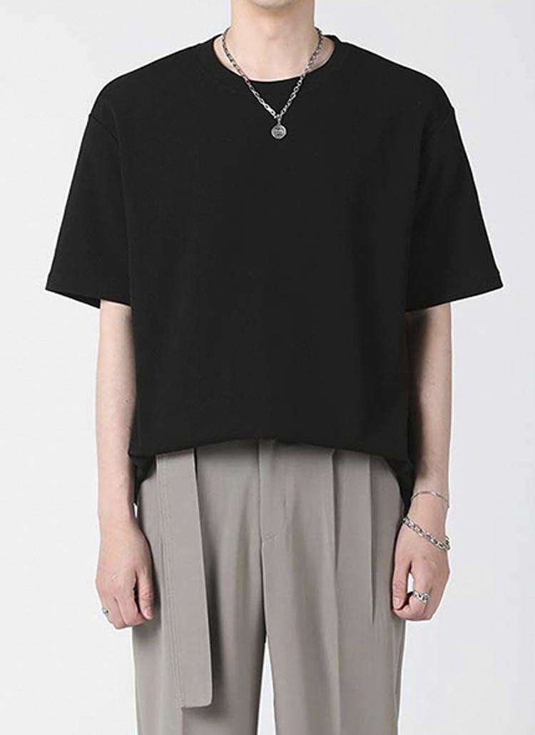 エンボス半袖Tシャツ(black)
