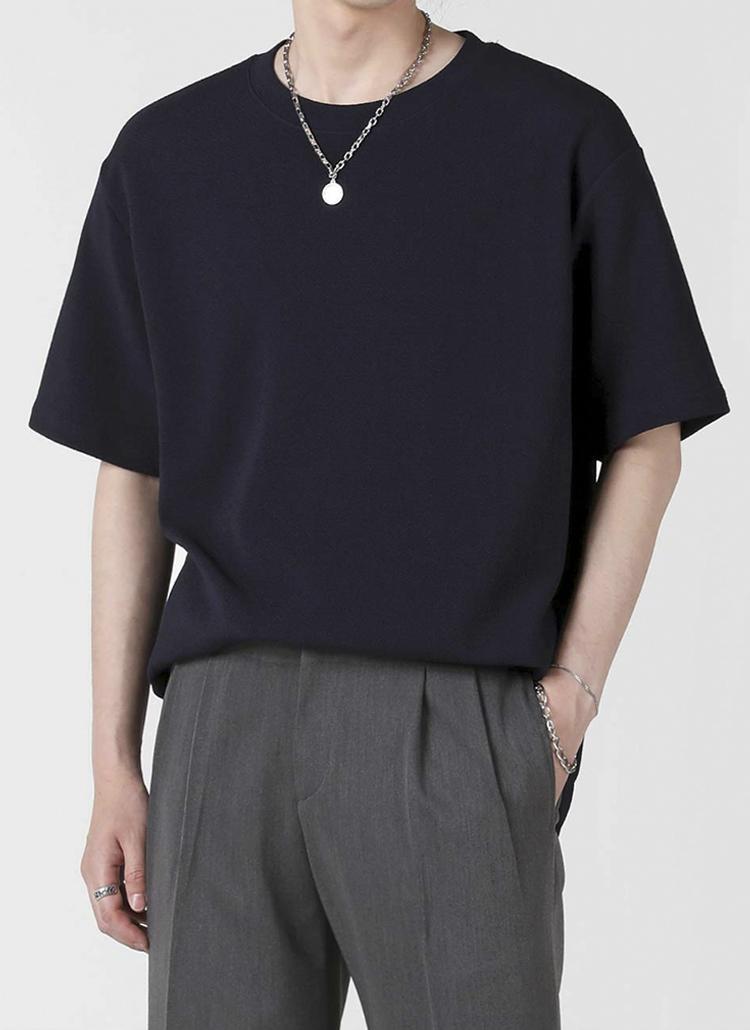 エンボス半袖Tシャツ(navy)