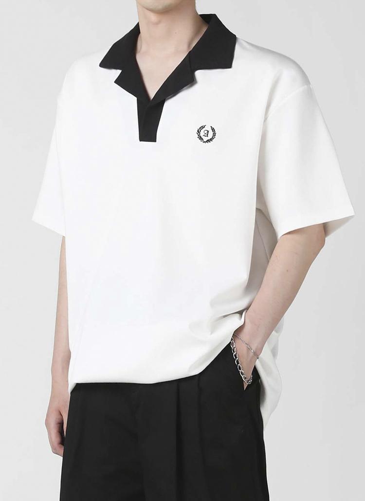 配色オープンカラーTシャツ(white)