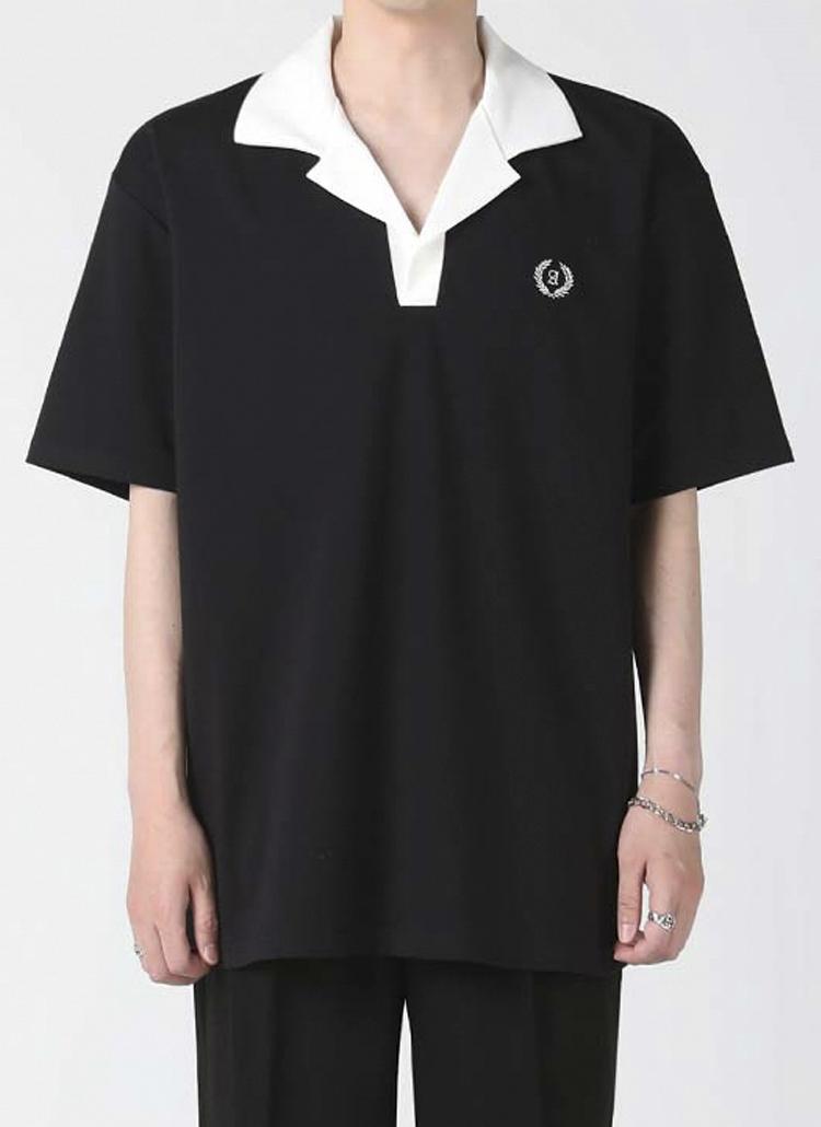 配色オープンカラーTシャツ(black)