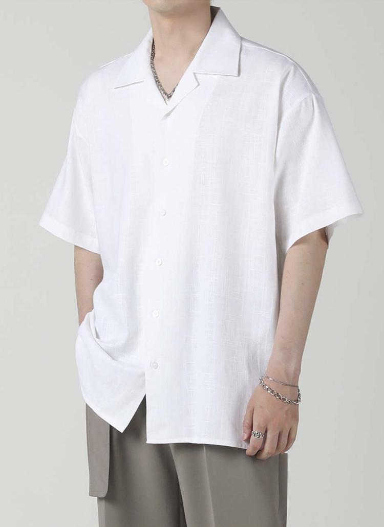 リネン混オープンカラーシャツ(WHITE)