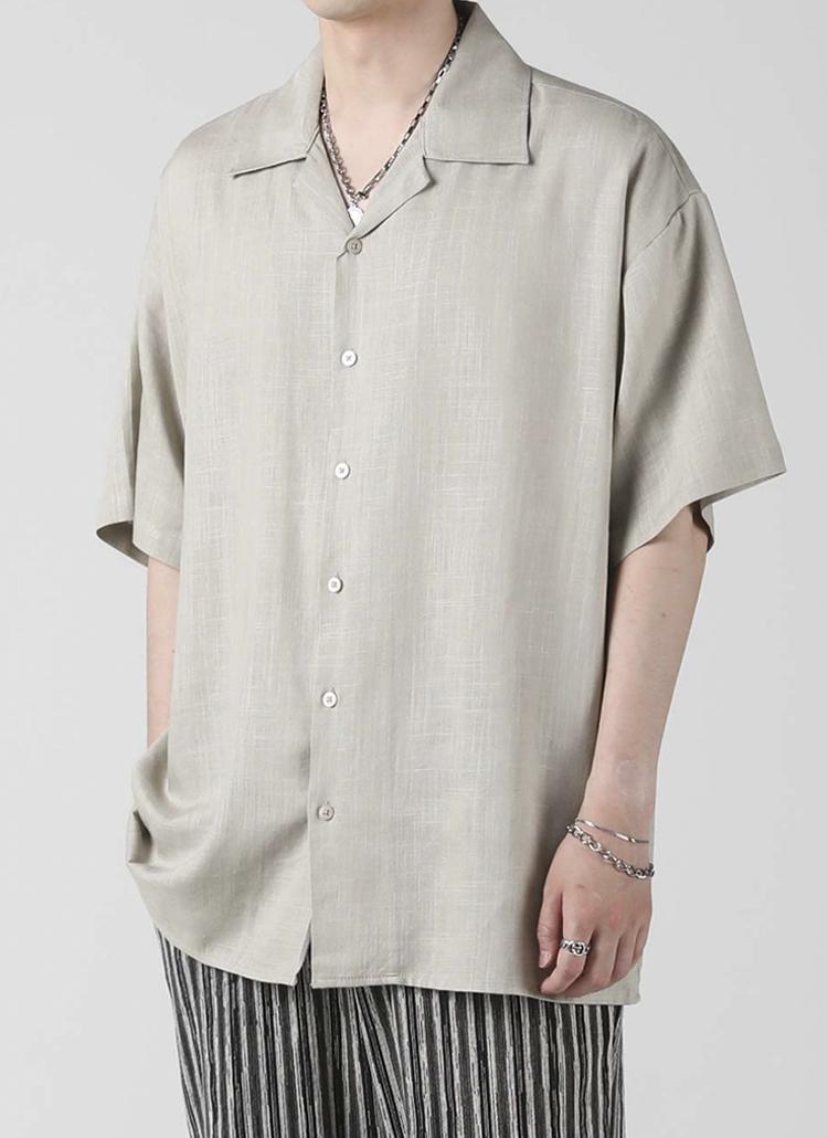 リネン混オープンカラーシャツ(KHAKI)