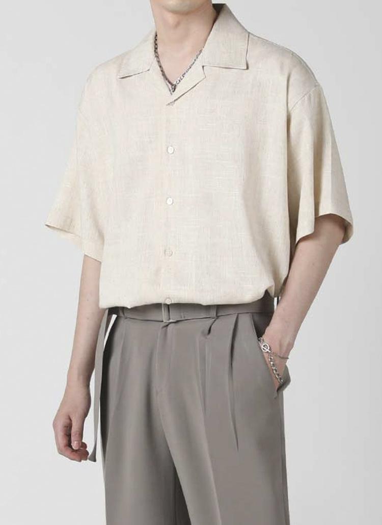 リネン混オープンカラーシャツ(OATMEAL)