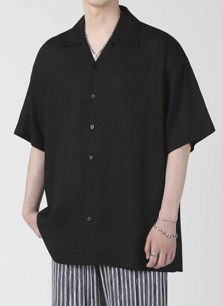 リネン混オープンカラーシャツ(BLACK)