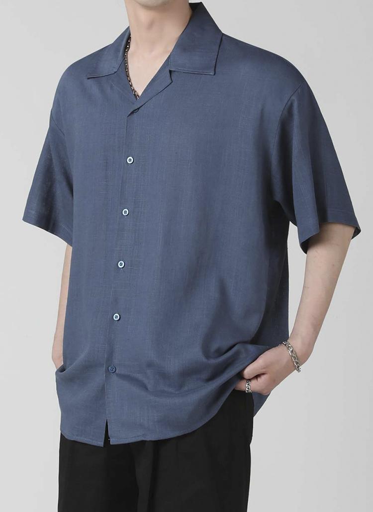 リネン混オープンカラーシャツ(NAVY)