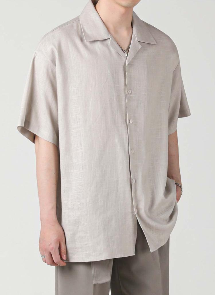 リネン混オープンカラーシャツ(GRAY)