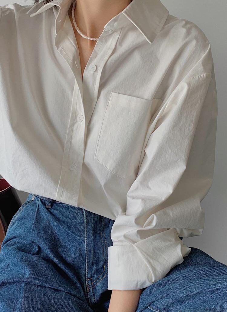 オーバーフィットワンポケットシャツ