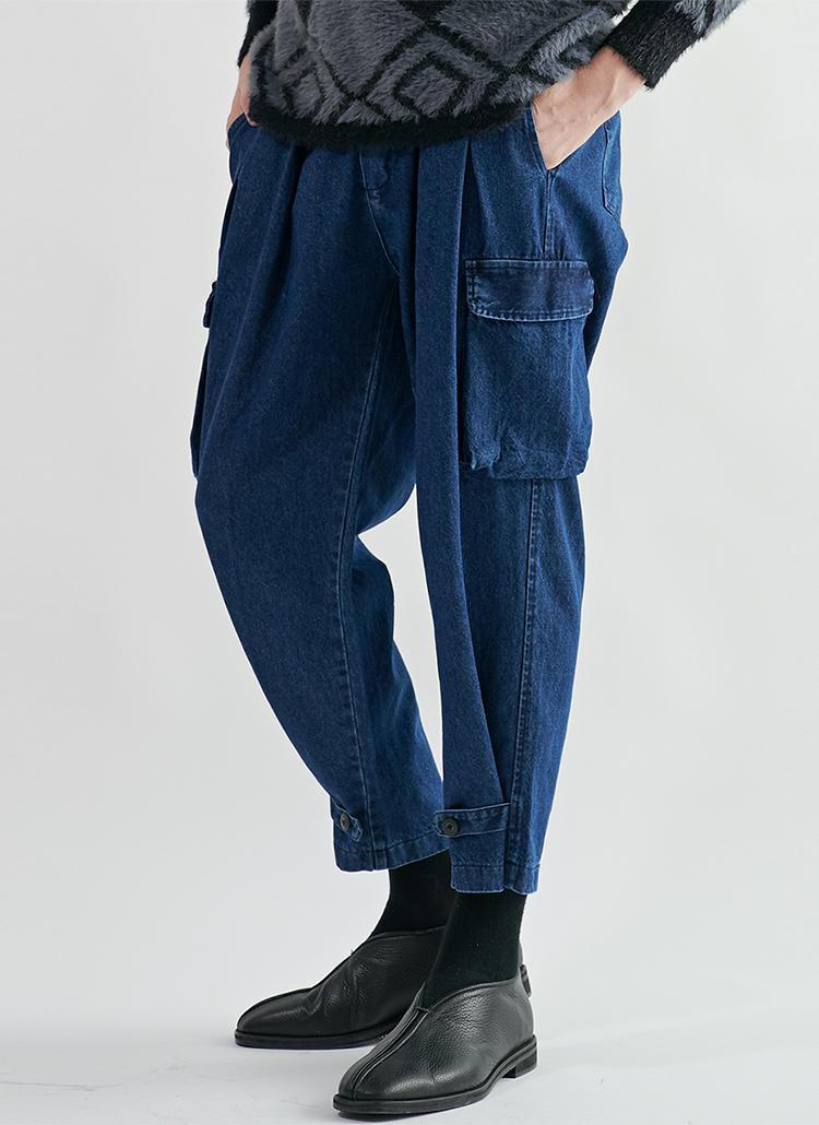カーゴポケットクロップドジーンズ(Medium Indigo)