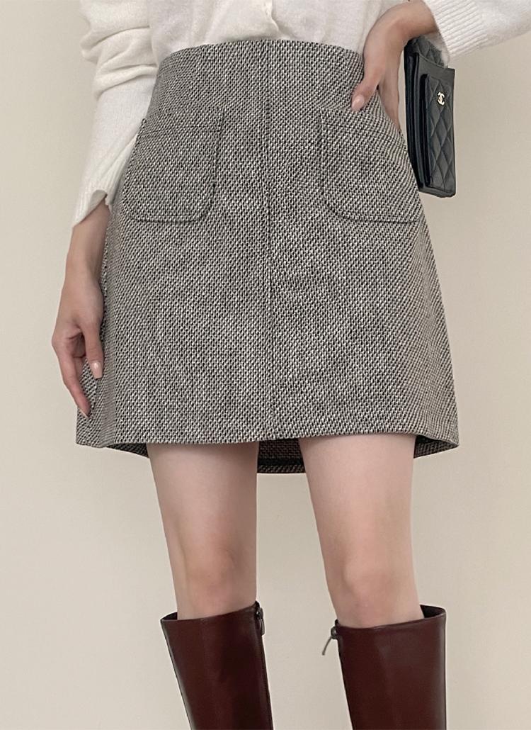 ウール混サイドポケットツイードミニスカート