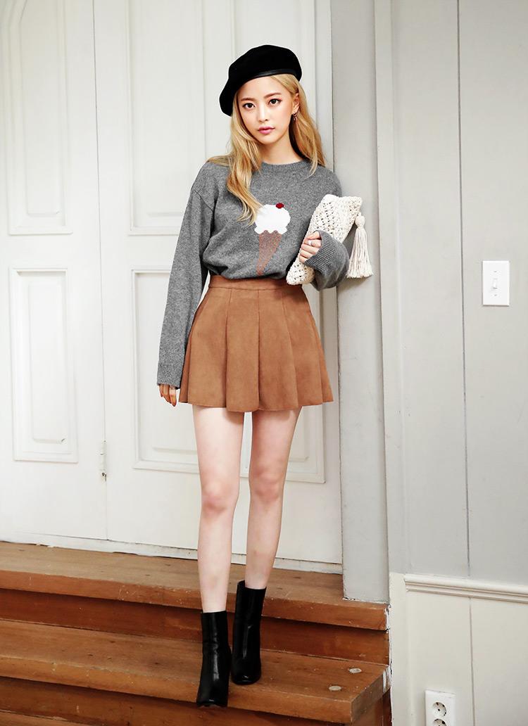 スエードライクフレアミニスカート・全2色