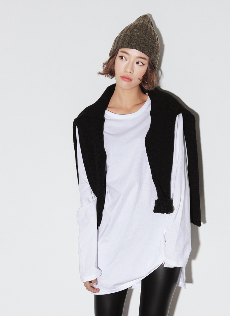 2TYPEオーバーサイズサイドスリットTシャツ・全4色
