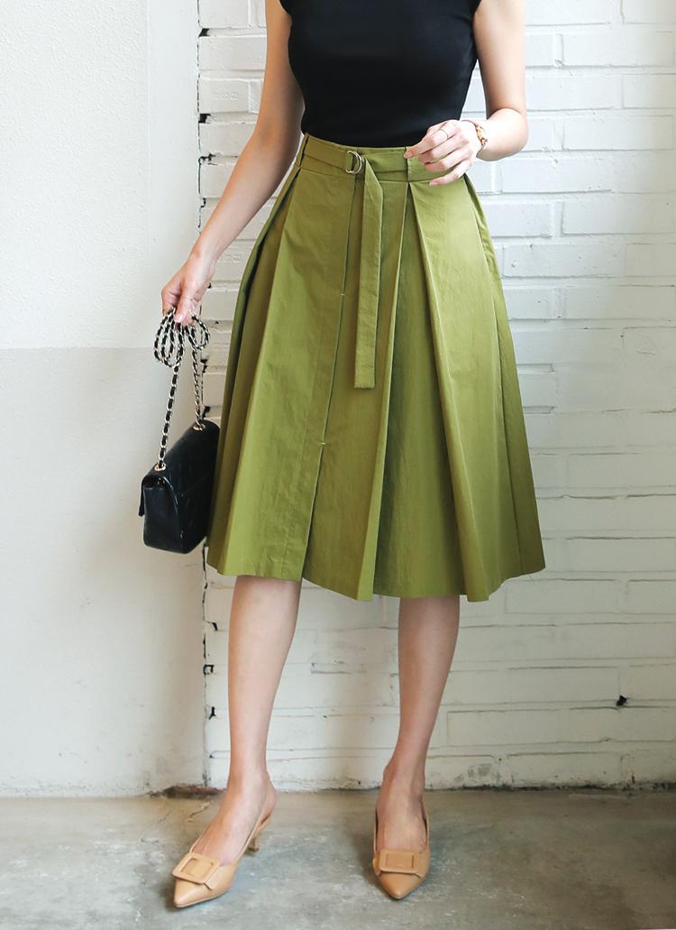 Dリングベルトフレアミディスカート・全3色