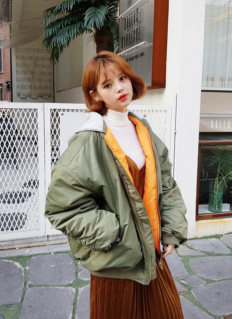 ギャザースリーブ中綿フードMA-1ジャケット・全2色