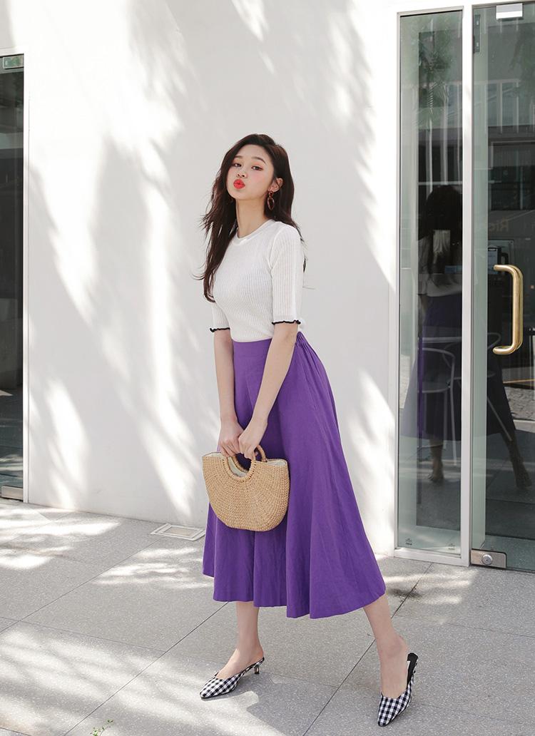 リネン混フレアロングスカート・全4色