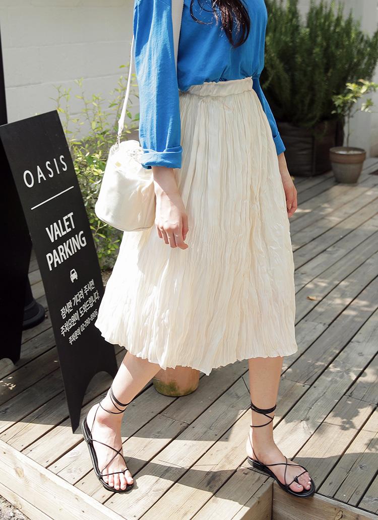 リンクルロングスカート・全3色