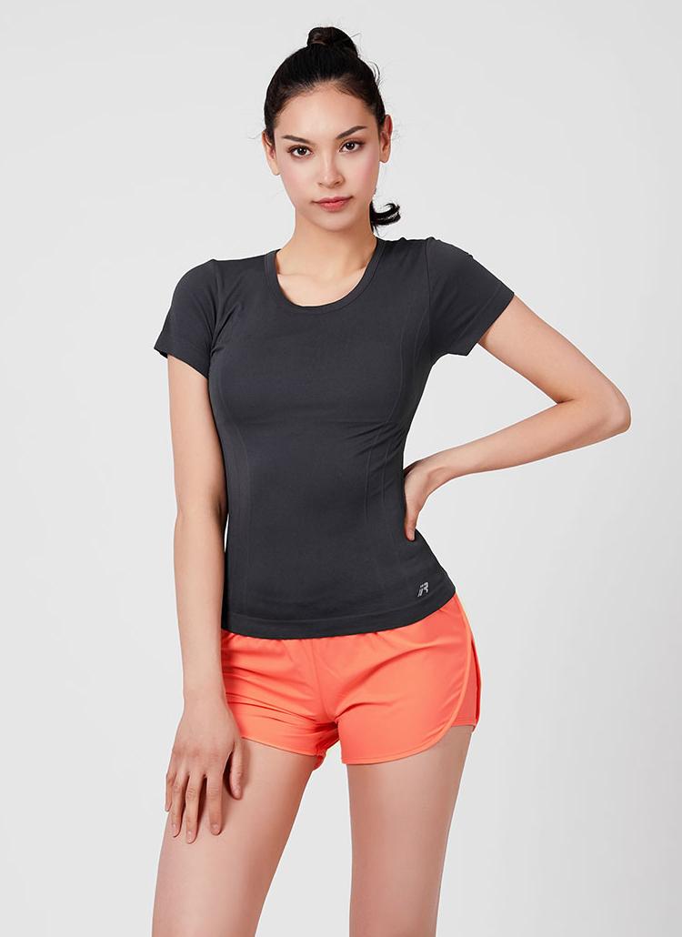 RロゴクルーネックスリムTシャツ(チャコール)