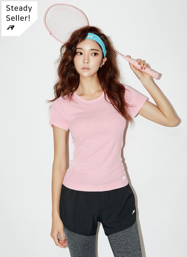 RロゴクルーネックスリムTシャツ(ピンク)