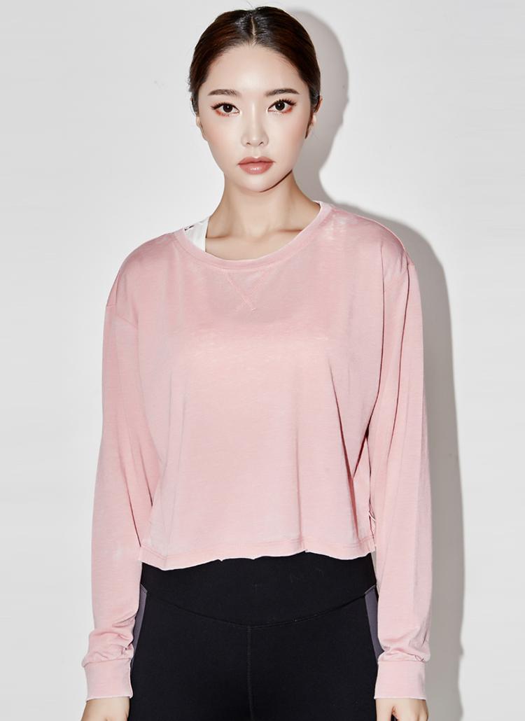 セミクロップ長袖Tシャツ(ピンク)