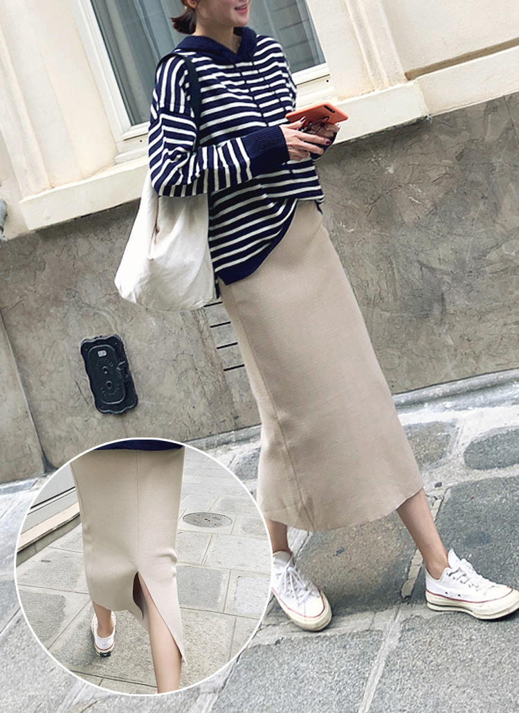 バックスリットニットスカート