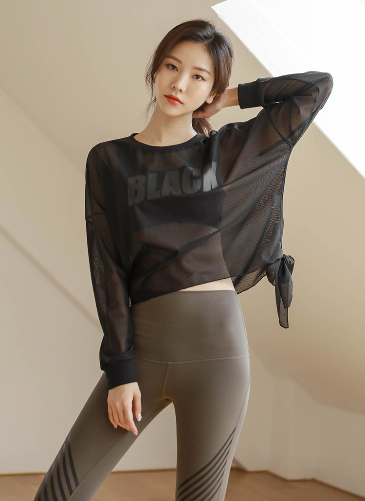 BLACKサイドタイシースルーTシャツ