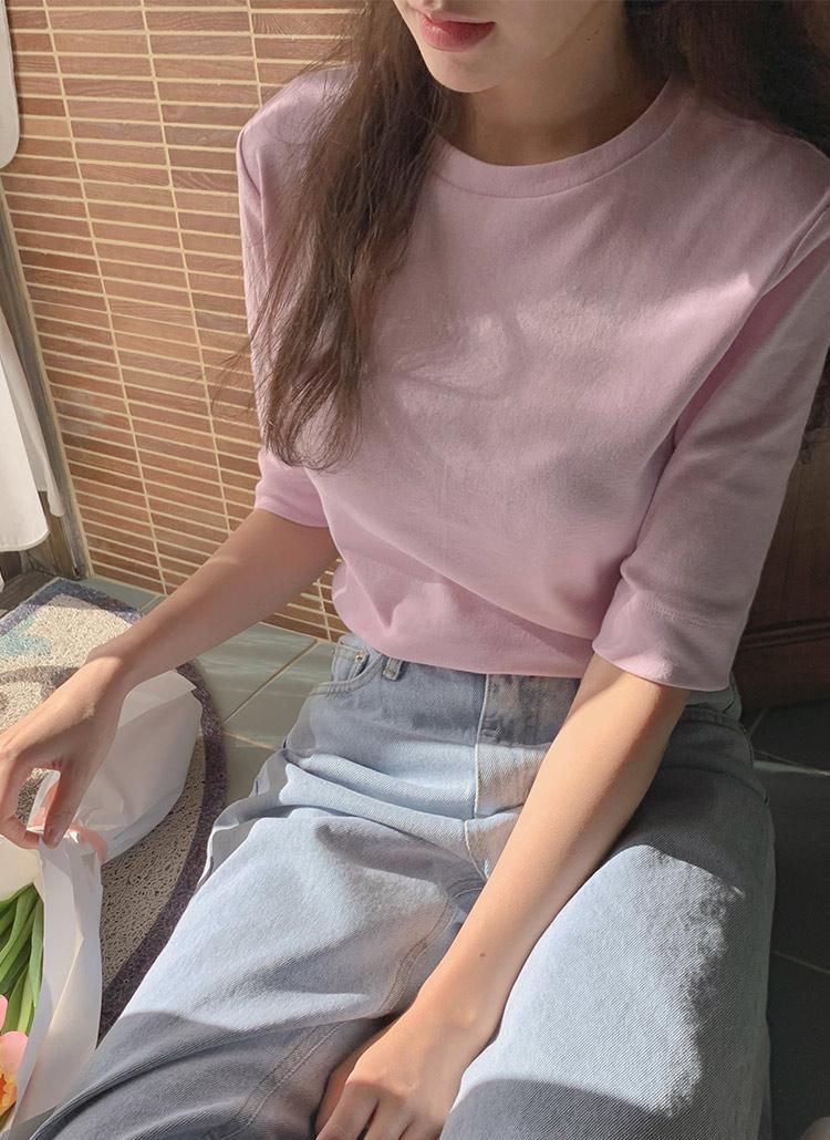 ラウンドネック5分丈Tシャツ