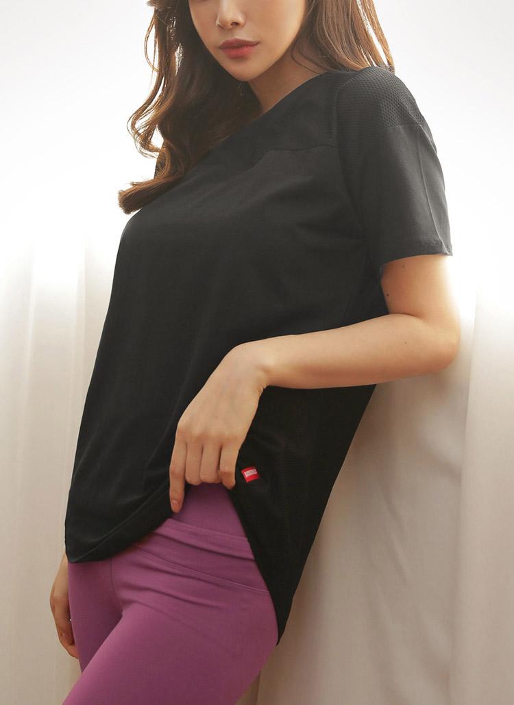 メッシュショルダーTシャツ・全1色