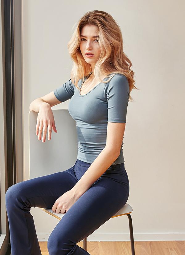 半袖スリムフィッティングTシャツ(リードグレー)