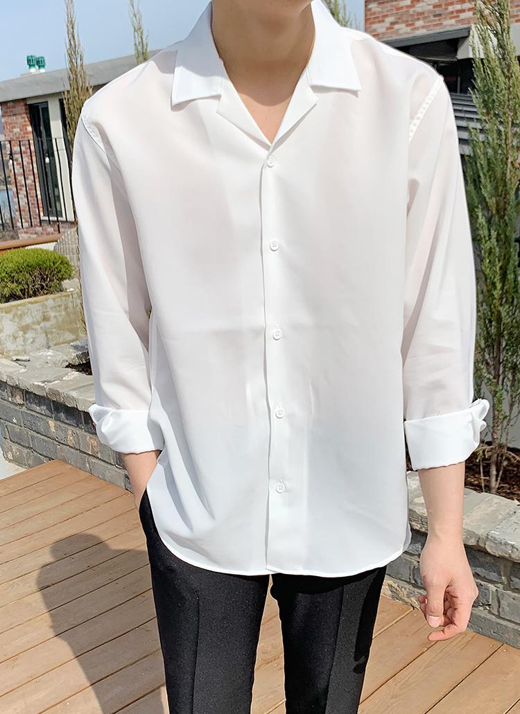 開襟シルキーシャツ