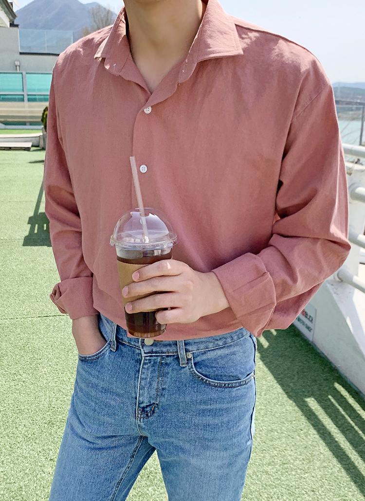 リネン混ホリゾンタルカラーシャツ