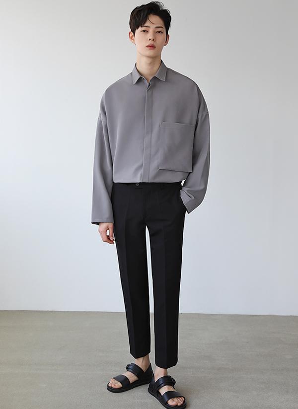 ビッグポケットフライフロントシャツ