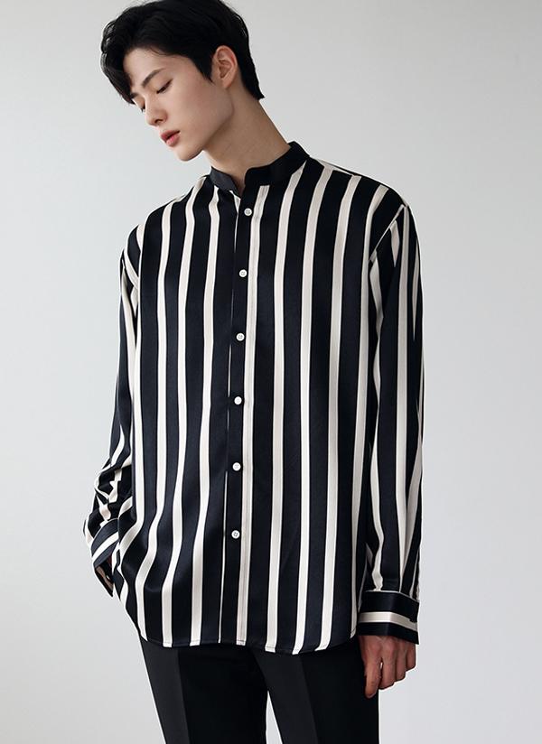 ワイドストライプパターンシャツ