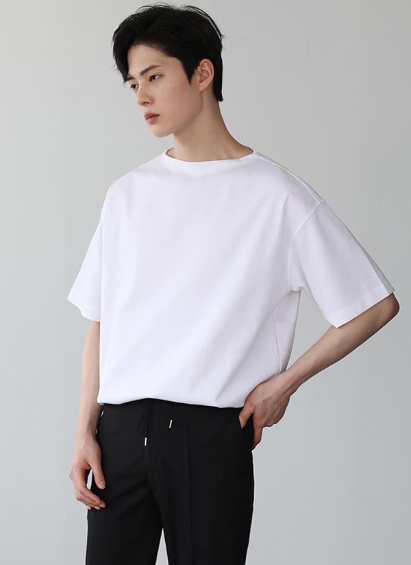 ボートネックシンプルTシャツ