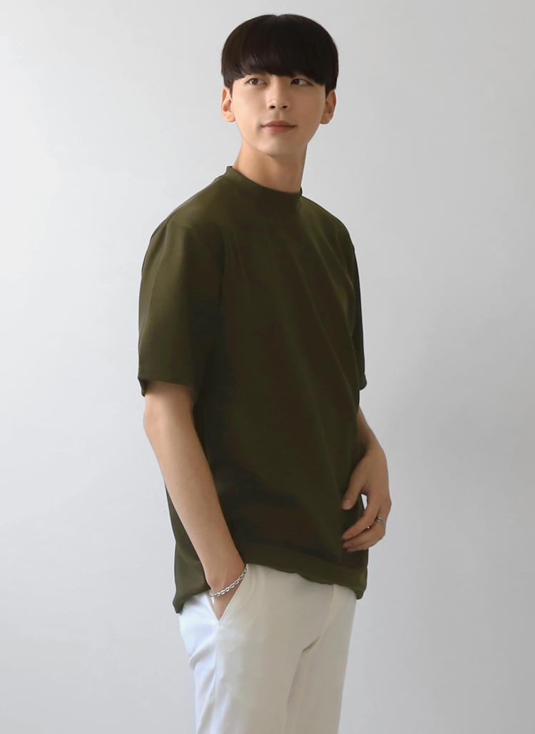 モックネック半袖Tシャツ