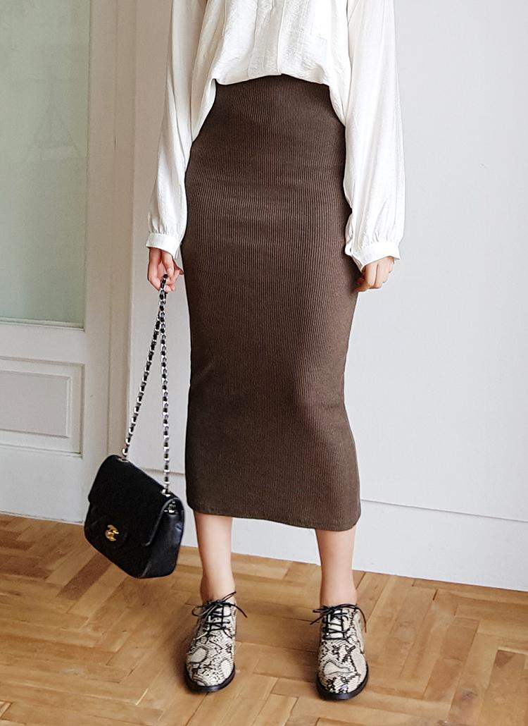 リブニットタイトスカート・全4色