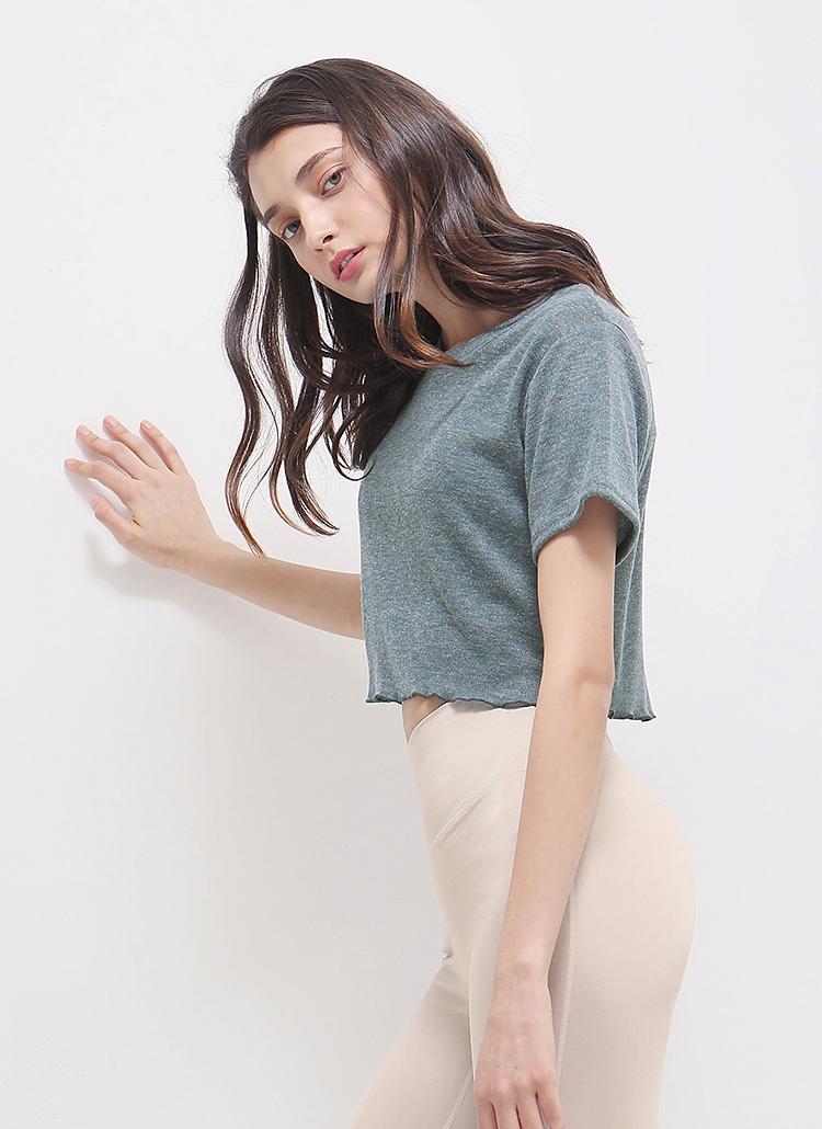 メロウヘムクロップドTシャツ(セラドングレー)
