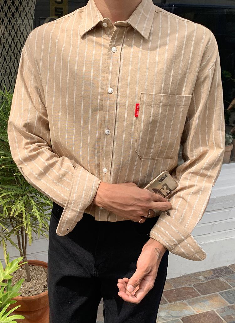 ダブルストライプポケットシャツ