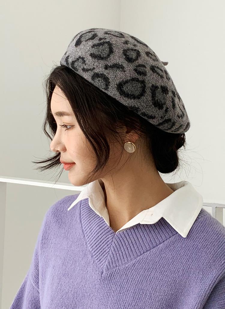 レオパードベレー帽・全5色