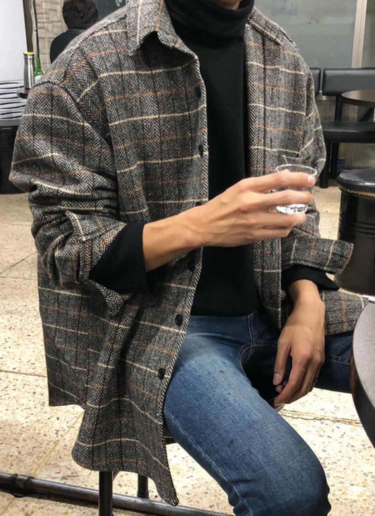ウールミックスチェックシャツ