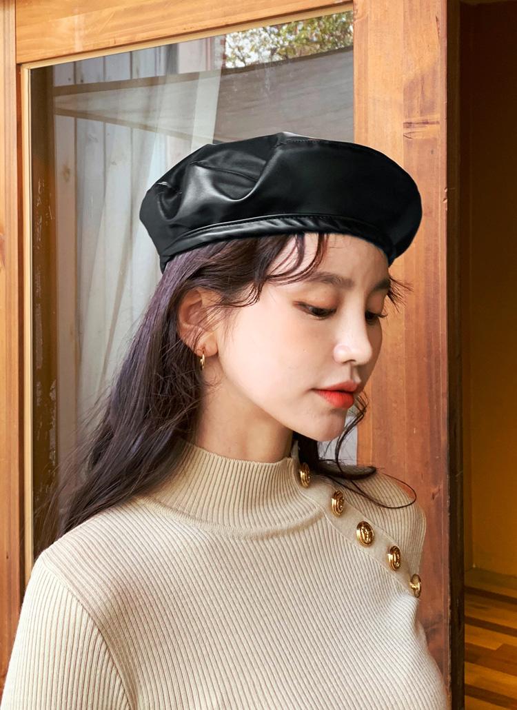レザーライクベレー帽・全2色