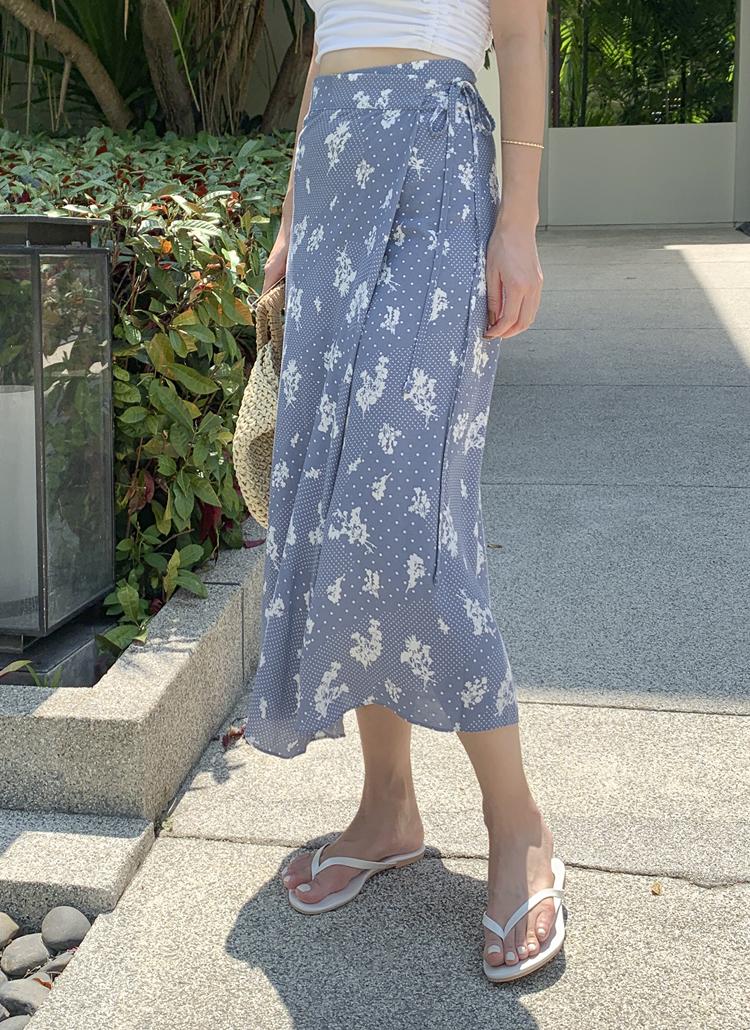 ドットフラワーラップスカート