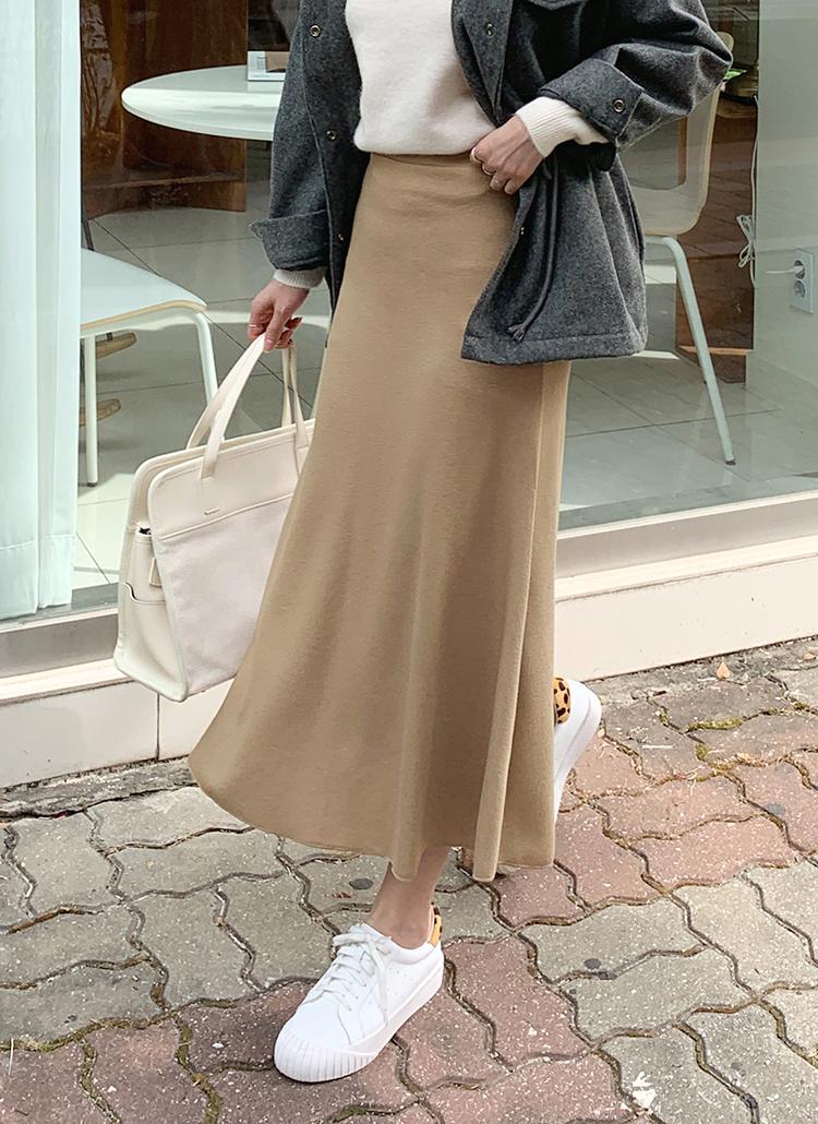 ニットフレアロングスカート・全6色