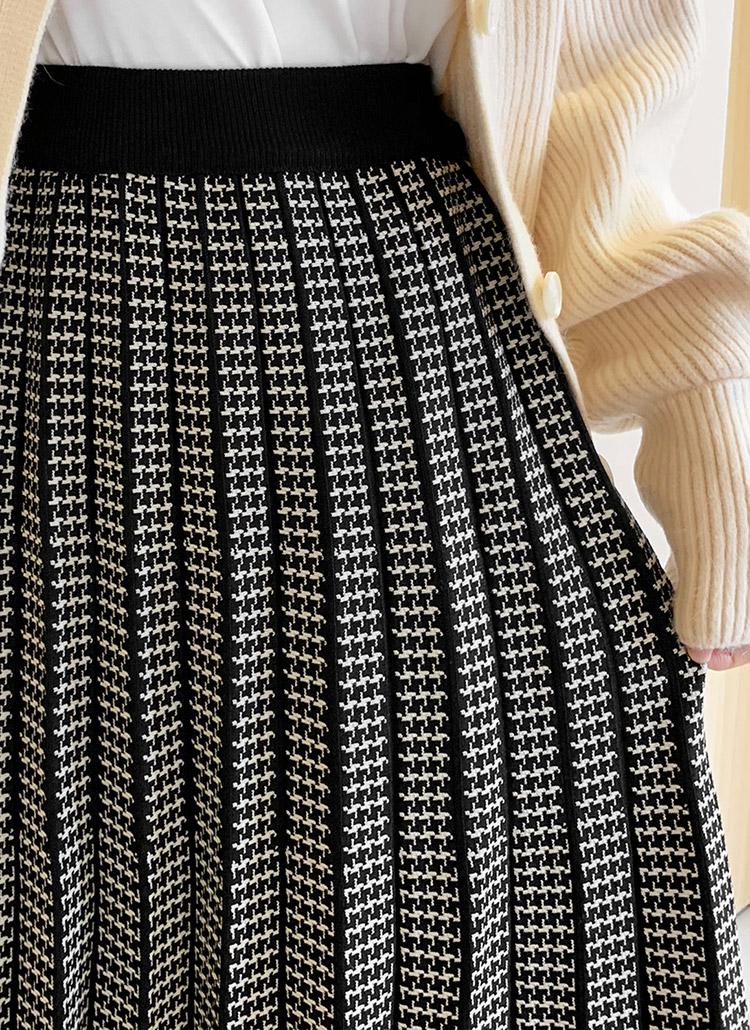 チェックニットプリーツスカート・全2色