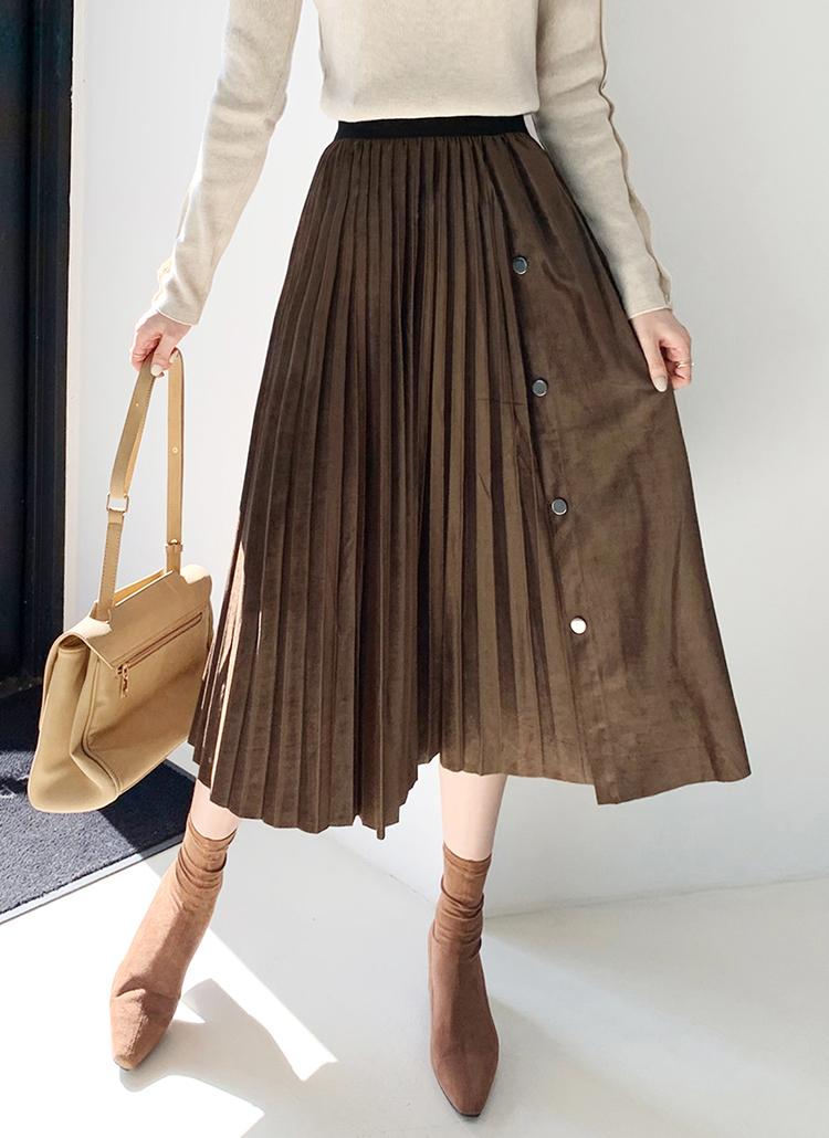 スエード調ボタンプリーツスカート・全3色
