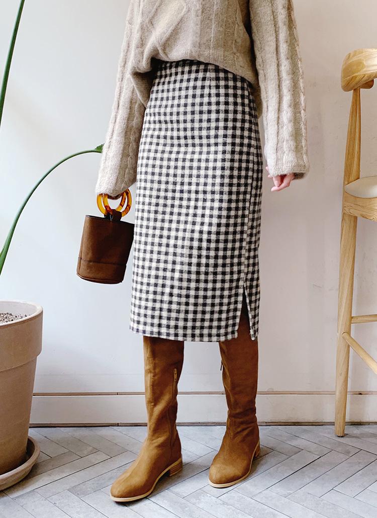 チェックHラインスカート・全2色