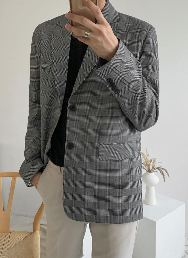 グレンチェックシングルジャケット