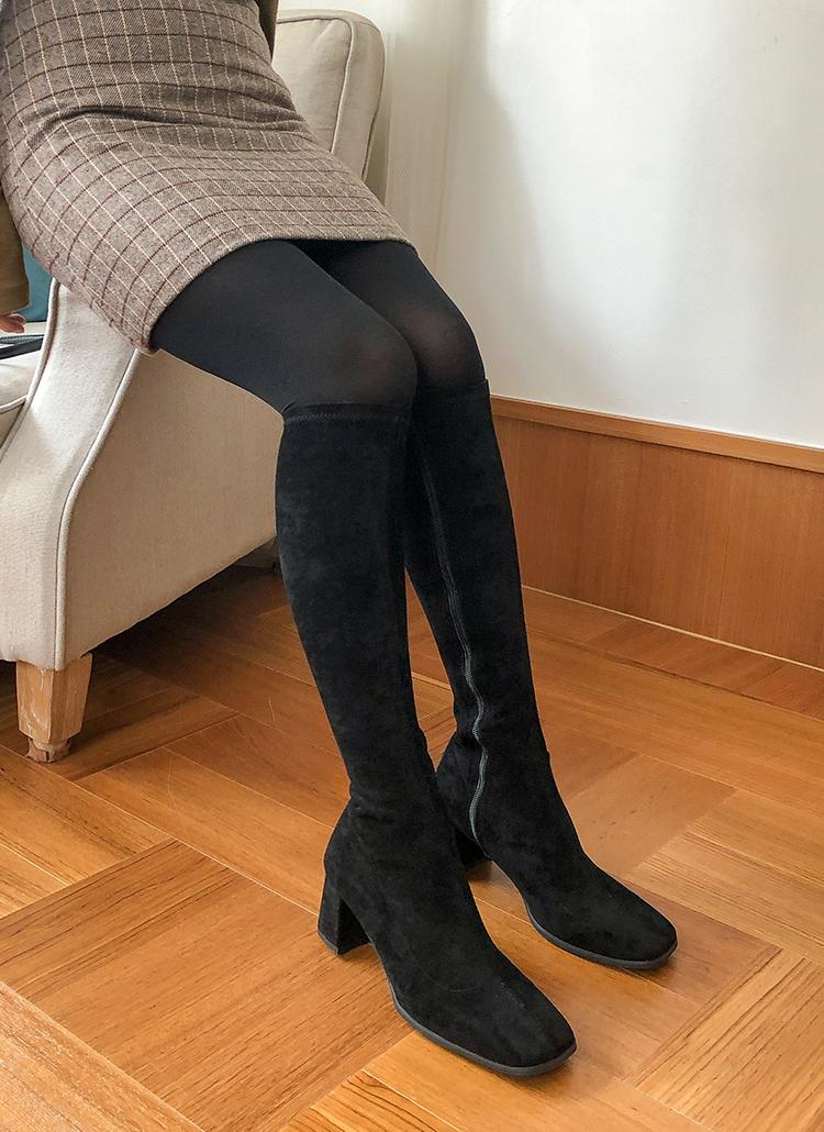 スクエアトゥスエード調ロングブーツ