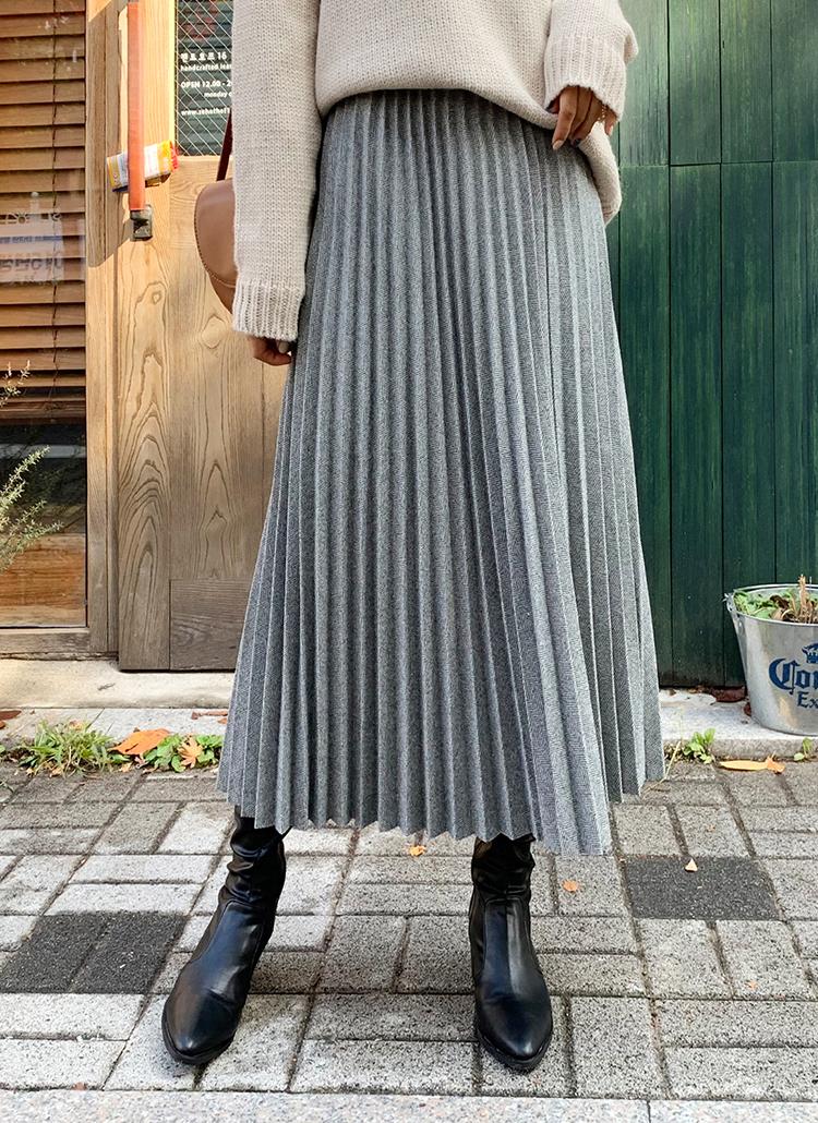 ヘリンボーンプリーツスカート・全2色