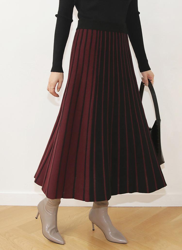 コントラストプリーツスカート・全5色